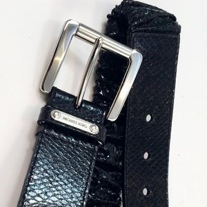 Michael Kors Black Stretchy  Faux Leather Belt
